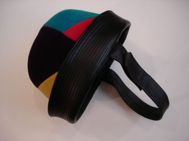Velour patchwork 1960s jockey hat with leather chin strap [new old stock].
