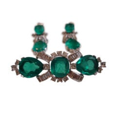 Jomaz - Sublime Costume Emerald Earring and Brooch Set
