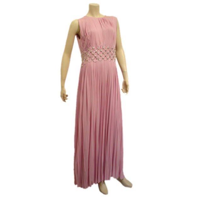 1960s Jean Louis Jersey Gown with Lucite Rings