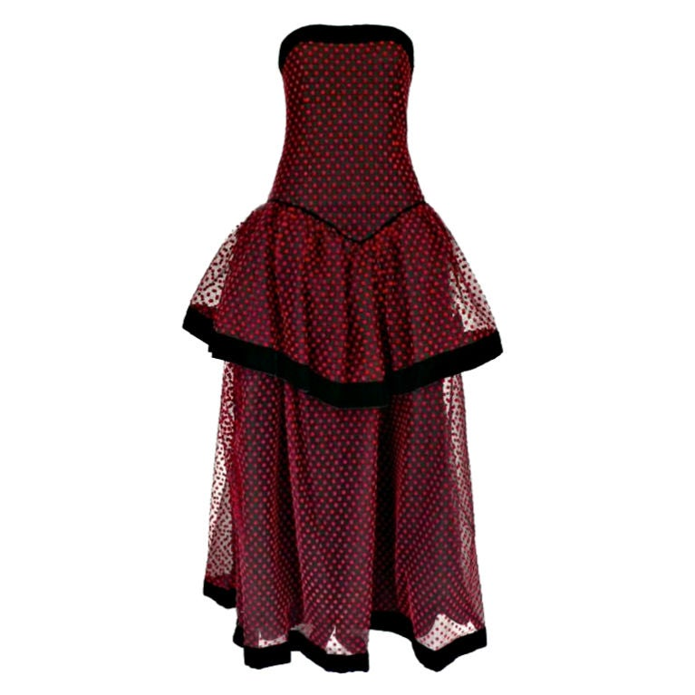 Christian dior strapless red polka dot velvet and net gown for Dior couture dress price