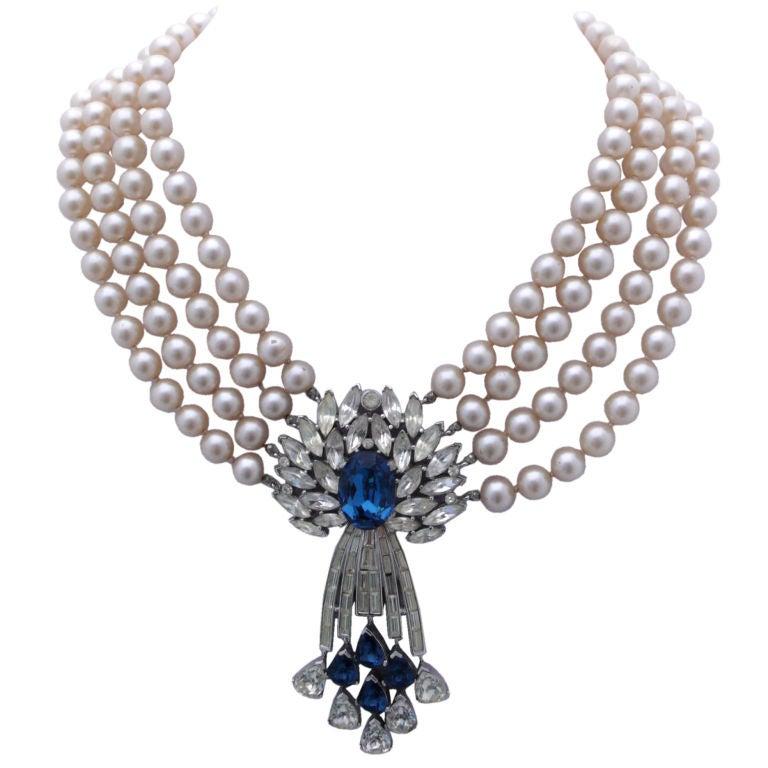 Trifari Pearl and Rhinestone Pendant Necklace 1