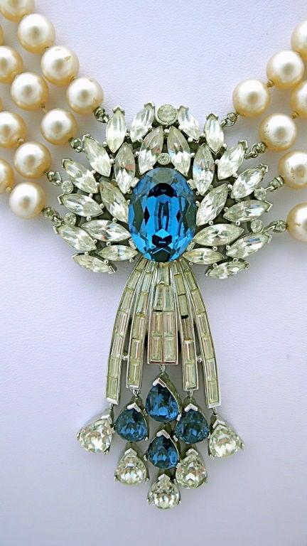 Trifari Pearl and Rhinestone Pendant Necklace 2