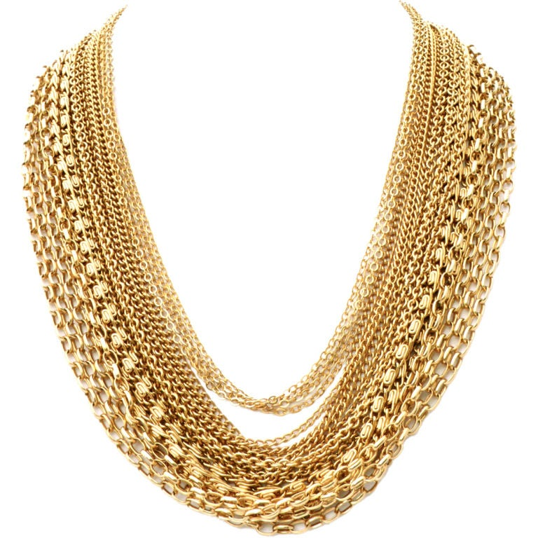 Trifari 18 Strand Gold Chain Necklace At 1stdibs