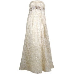 Couture lace gown with beaded bodice