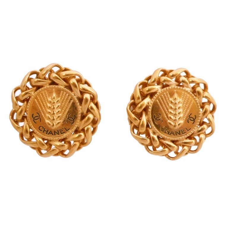 chanel gold tone earrings at 1stdibs