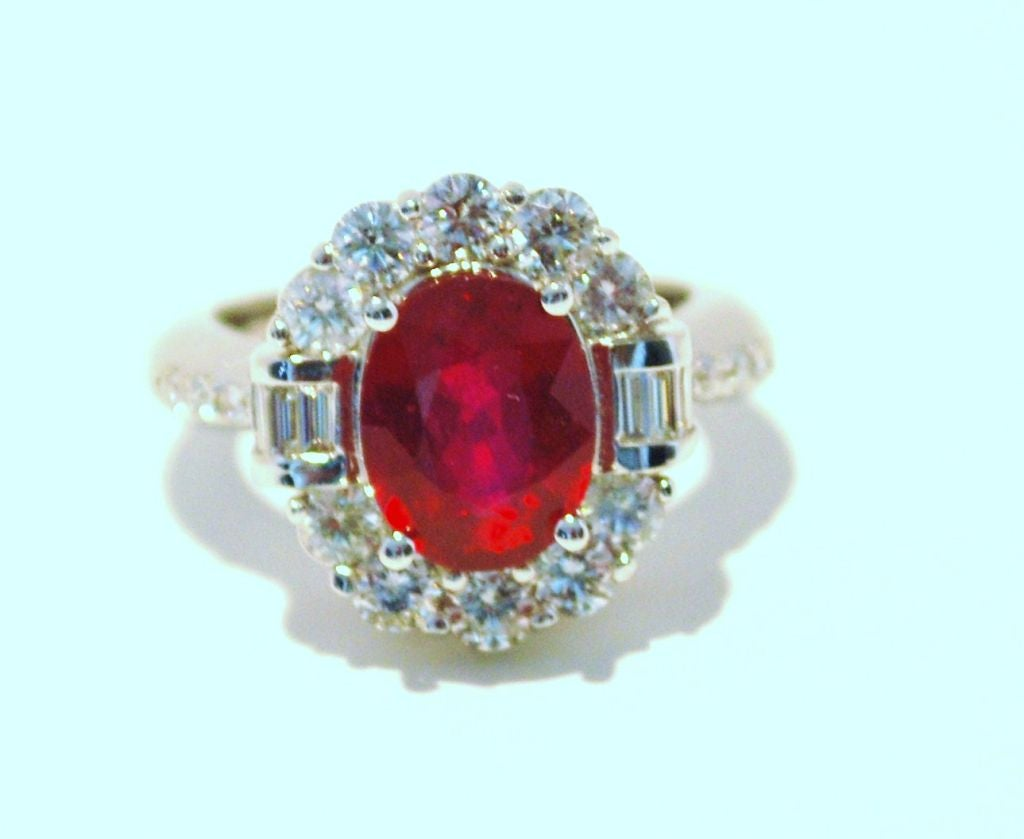 Burmese Ruby and Diamond Ring For Sale 1