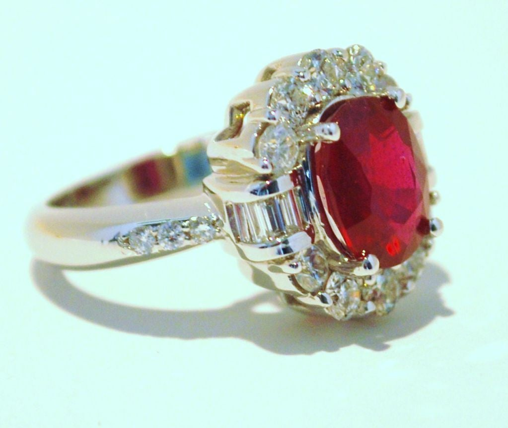 14k White Gold Burmese Ruby and Diamond Cocktail Ring.<br />