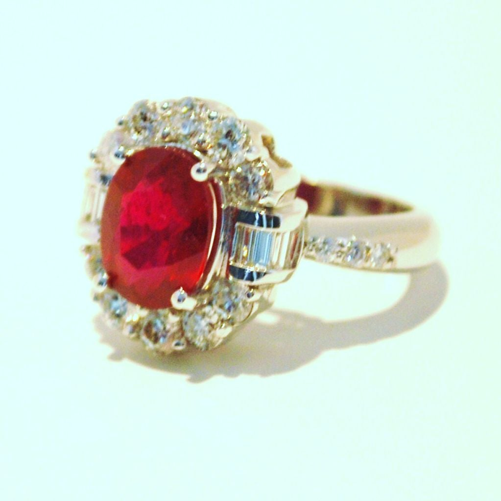 Women's Burmese Ruby and Diamond Ring For Sale