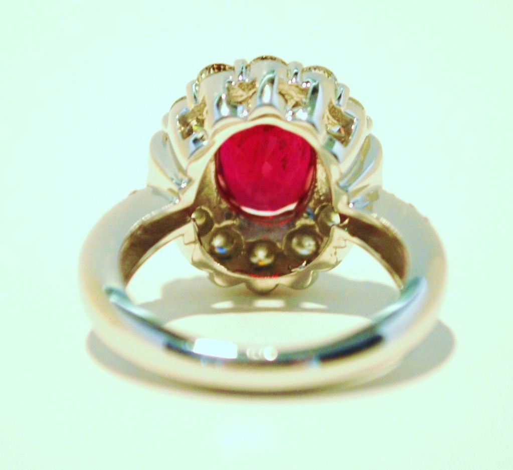 Burmese Ruby and Diamond Ring For Sale 2