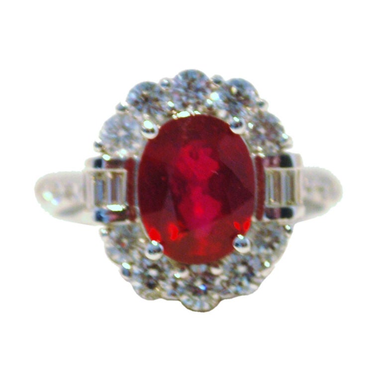 Burmese Ruby and Diamond Ring For Sale