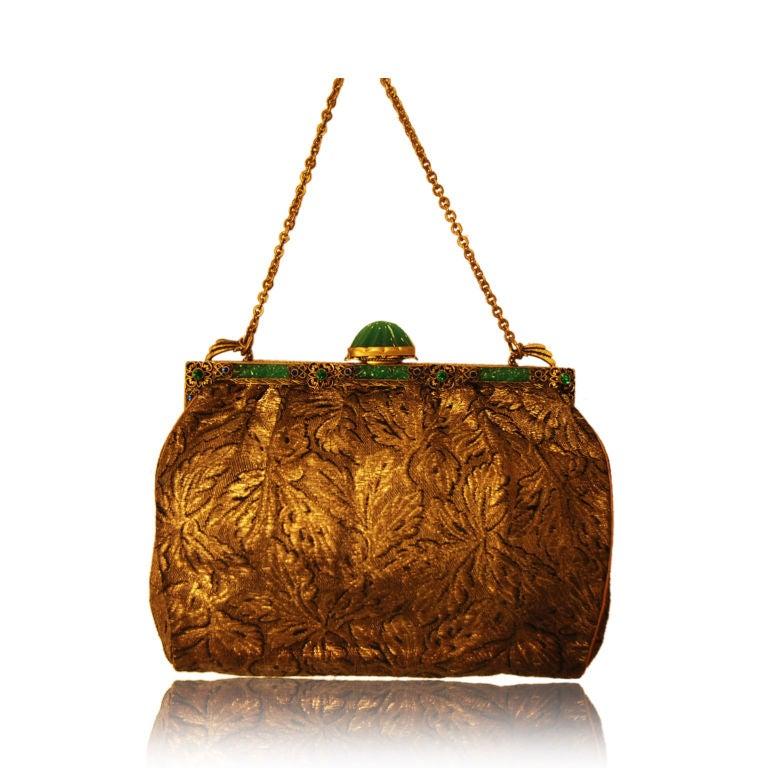 vintage brocade evening bag with antique feweled frame at 1stdibs