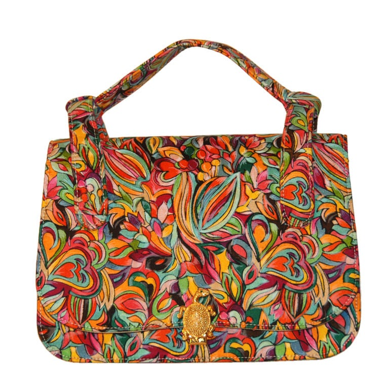 Vibrant Fabric Purse Turtle Clasp Saks 5th Ave At 1stdibs