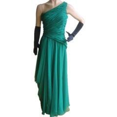 ARNOLD SCAASI Elegant Vintage One-Shoulder Goddess Gown Sz 4-6