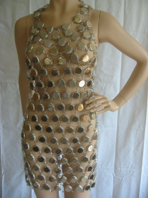 Paco Rabanne Style Metal Link Bottle Cap Dress Sz 6-8 at ...