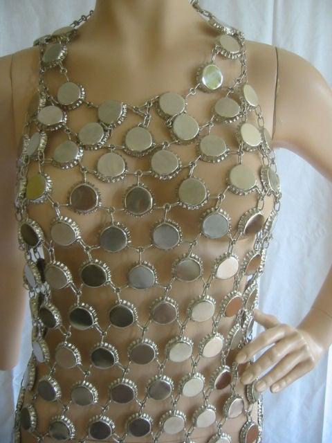 Paco Rabanne Style Metal Link Bottle Cap Dress Sz 6 8 At