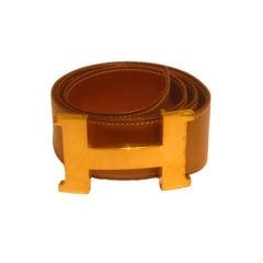 "HERMES Men's  Very Large Brown Leather Belt w/ ""H"" Buckle"