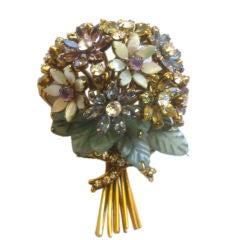 Iradj Moini Gorgeous Flower Bouquet Jeweled Pin