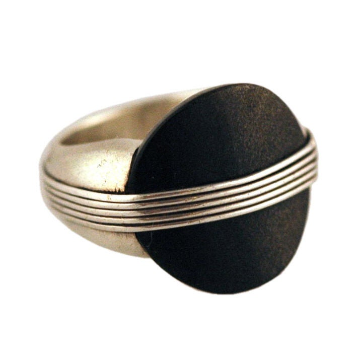 Spratling Obsidian Sterling Silver Ring Museum Quality At