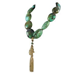 Genuine Turquoise and Bronze Statement Necklace