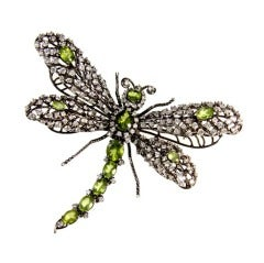 Dragonfly Peridot CZ Sterling Silver Tremblant Articulated  Brooch Pin