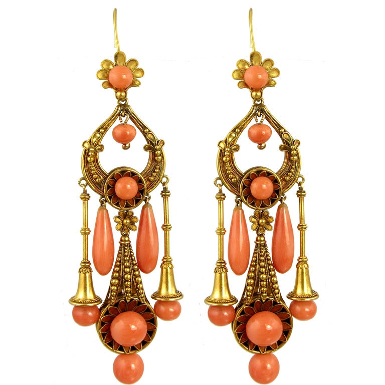 Antique Revivalist Gold And Coral Earrings At 1stdibs