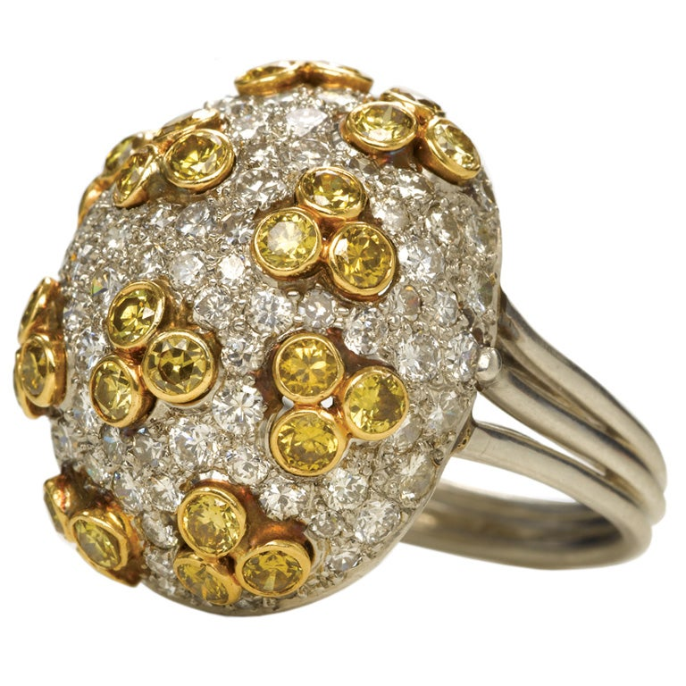 bombe jewelry bomb 233 yellow and white ring at 1stdibs 6811