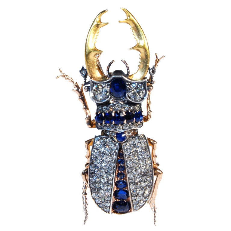 Sapphire and Diamond Stag Beetle For Sale