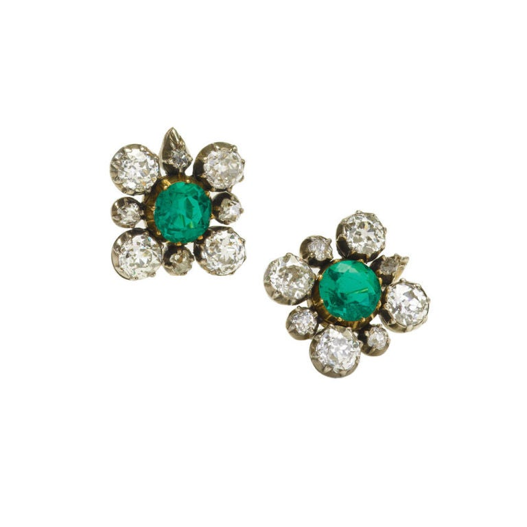 Antique Emerald and Diamond Cluster Earrings