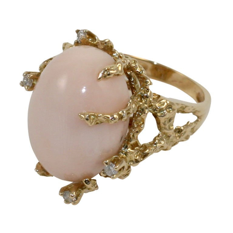 italian gold and angelskin coral ring at 1stdibs
