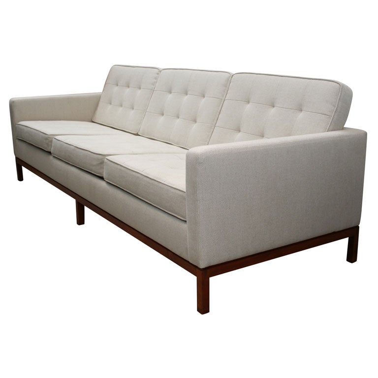 Superb Florence Knoll 3 Seat Quilted Sofa With Wood Base 1