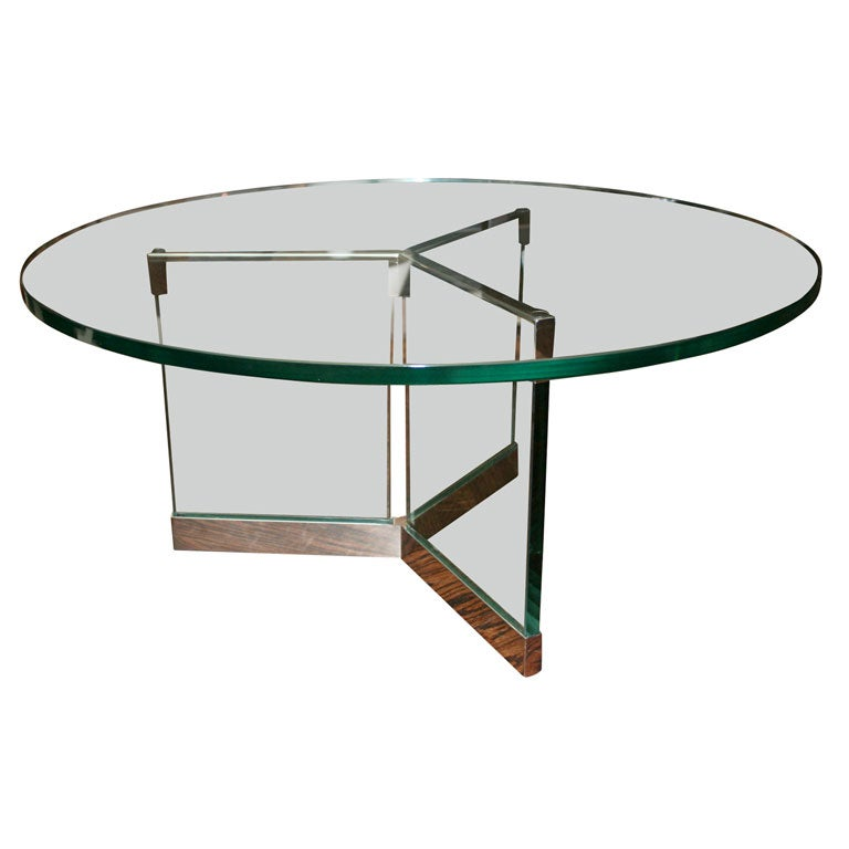 Round Glass Coffee Table With Nickel Hardware By Pace At