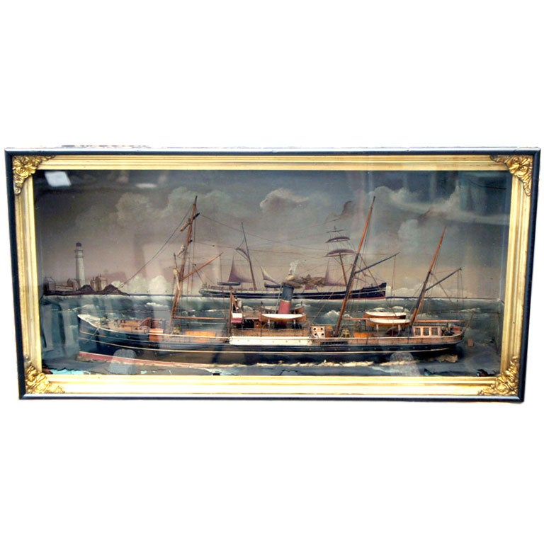 Carved wood sails, interesting sea and bright, original paint.  Exceptional full hull ship diorama of the vessel