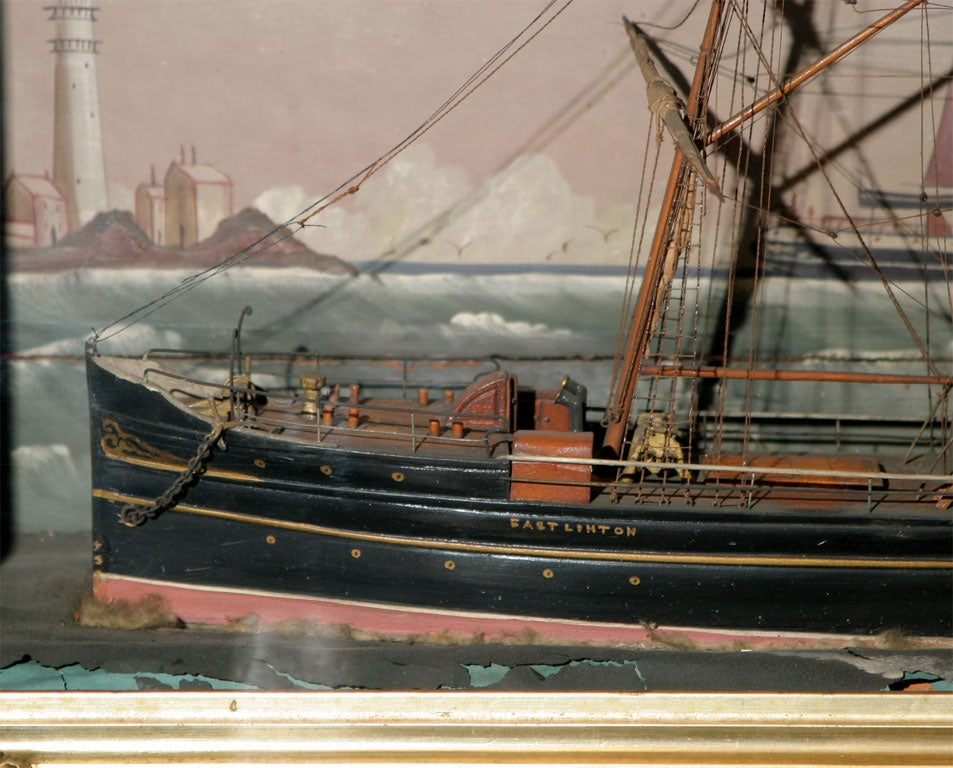 Wood Ship Shadow Box Diorama For Sale