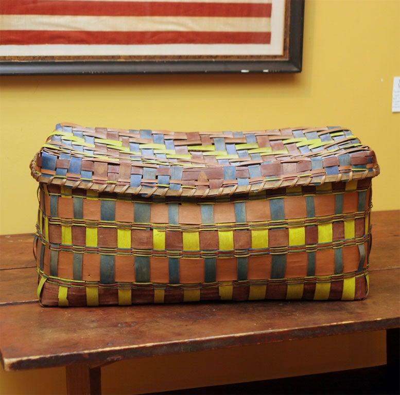 Paper Old American Indian Splint Woven Basket. For Sale