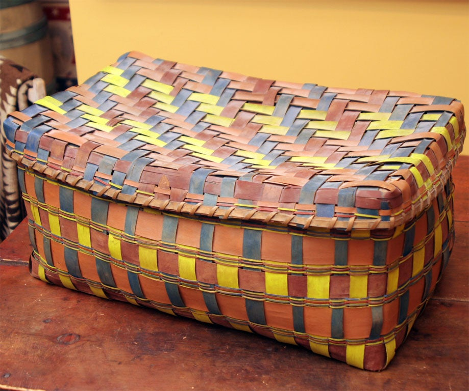 Old American Indian Splint Woven Basket. For Sale 1