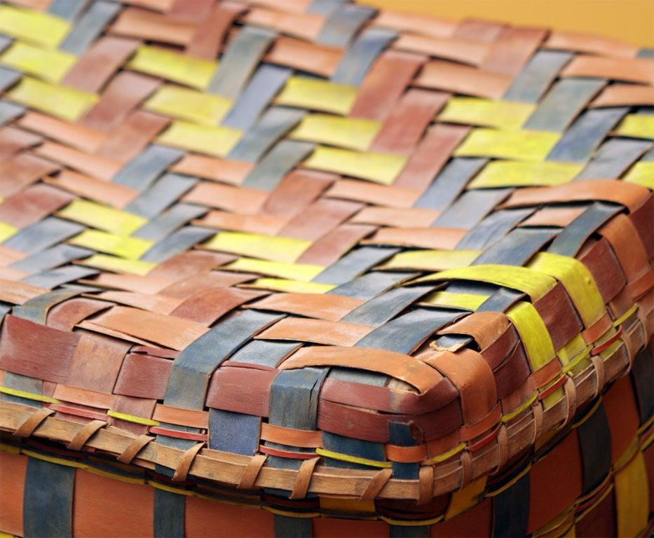 Old American Indian Splint Woven Basket. For Sale 2