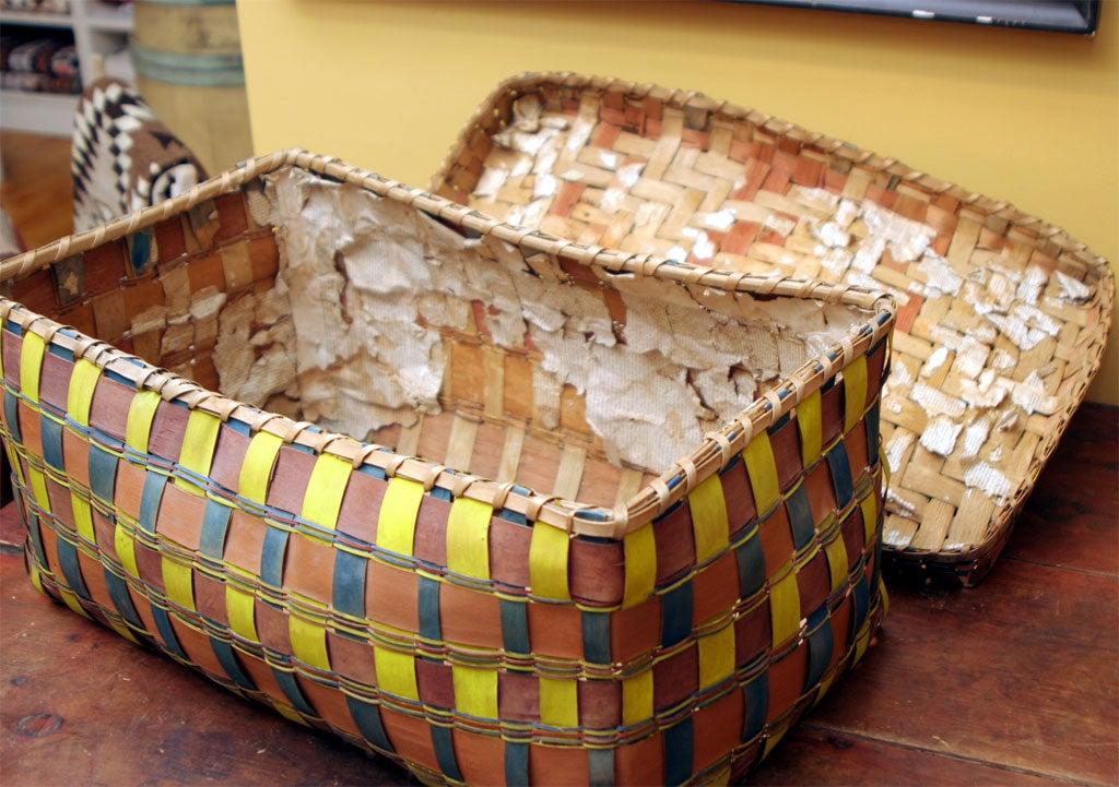 Old American Indian Splint Woven Basket. For Sale 3