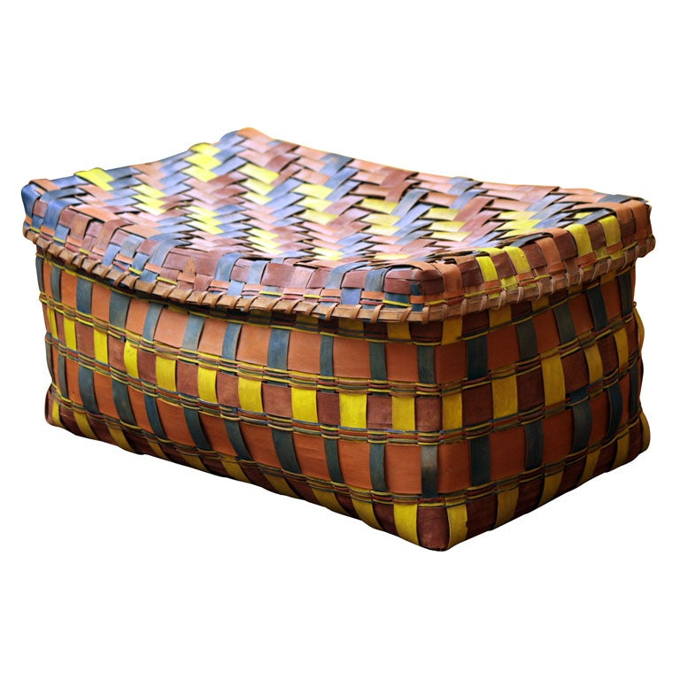 Old American Indian Splint Woven Basket. For Sale