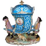 French Hand Painted Porcelain Carriage with Marie Antoinette