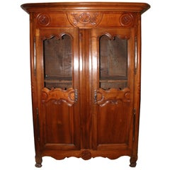 French Cherry Armoire with Scallop Shell