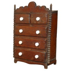English Miniature Painted Chest of Drawers from the Turn of the Century