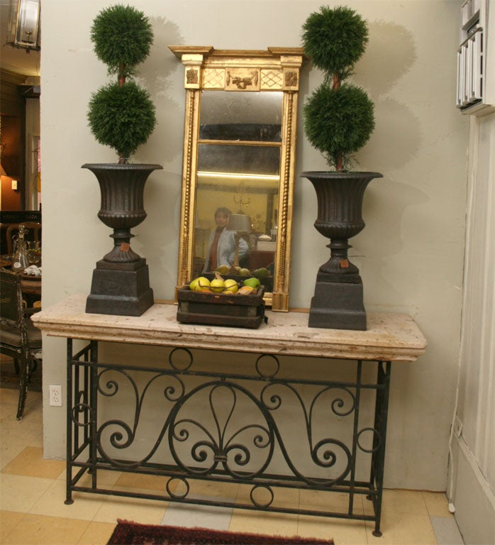 Metal Base Stone Top Console Table At 1stdibs