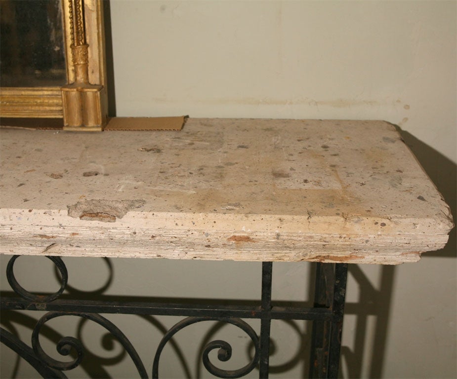 Foyer Table With Granite Top : Metal base stone top console table at stdibs