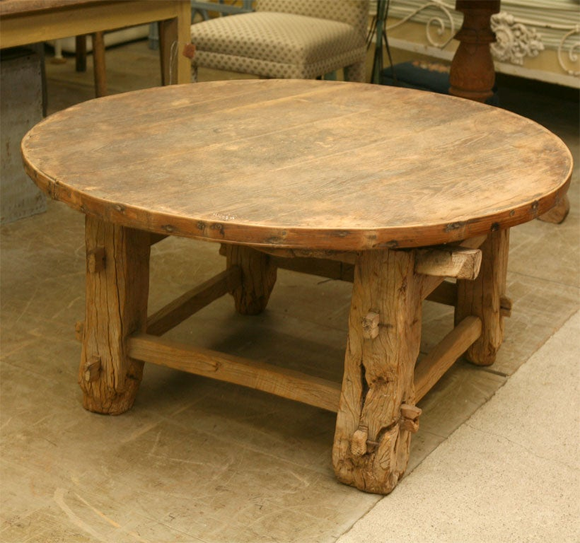 Rustic round teak coffee table at 1stdibs for Rustic outdoor coffee table