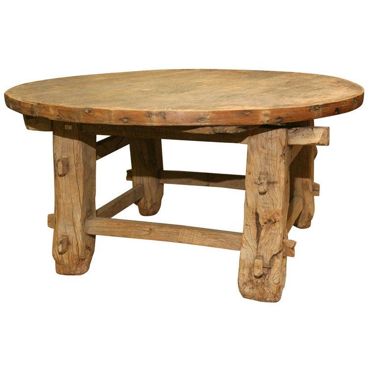 Rustic Round Teak Coffee Table At 1stdibs