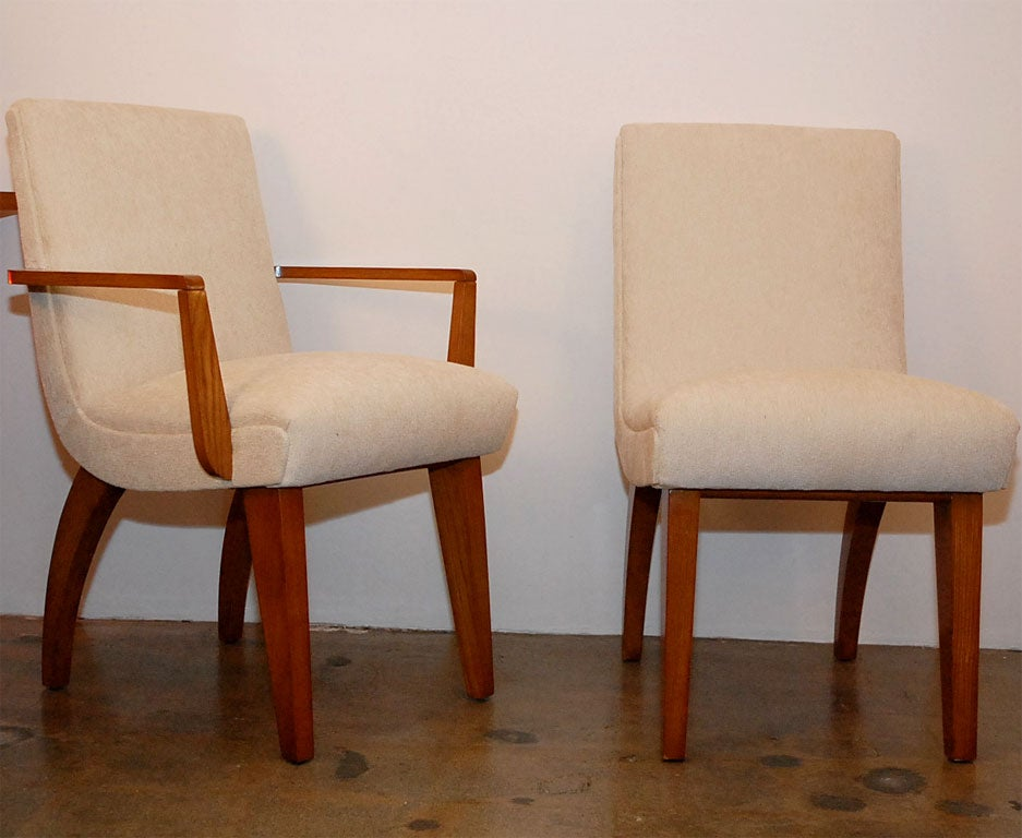 Set of upholstered dining chairs with maple legs at stdibs