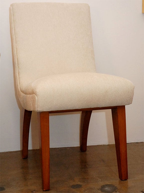 Set Of 8 Upholstered Dining Chairs With Maple Legs At 1stdibs