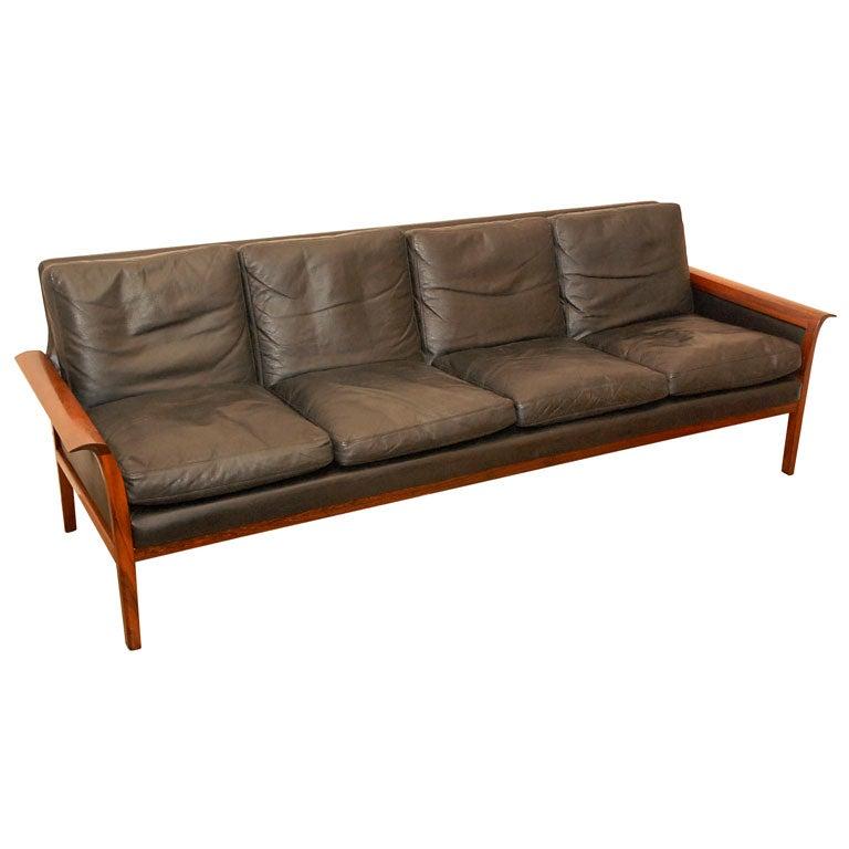 vintage danish black leather sofa at 1stdibs