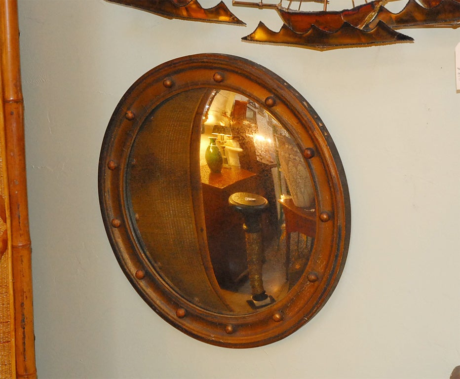English convex round wood mirror at 1stdibs for Round wood mirror