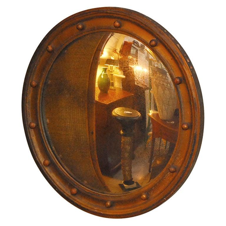 English Convex Round Wood Mirror At 1stdibs